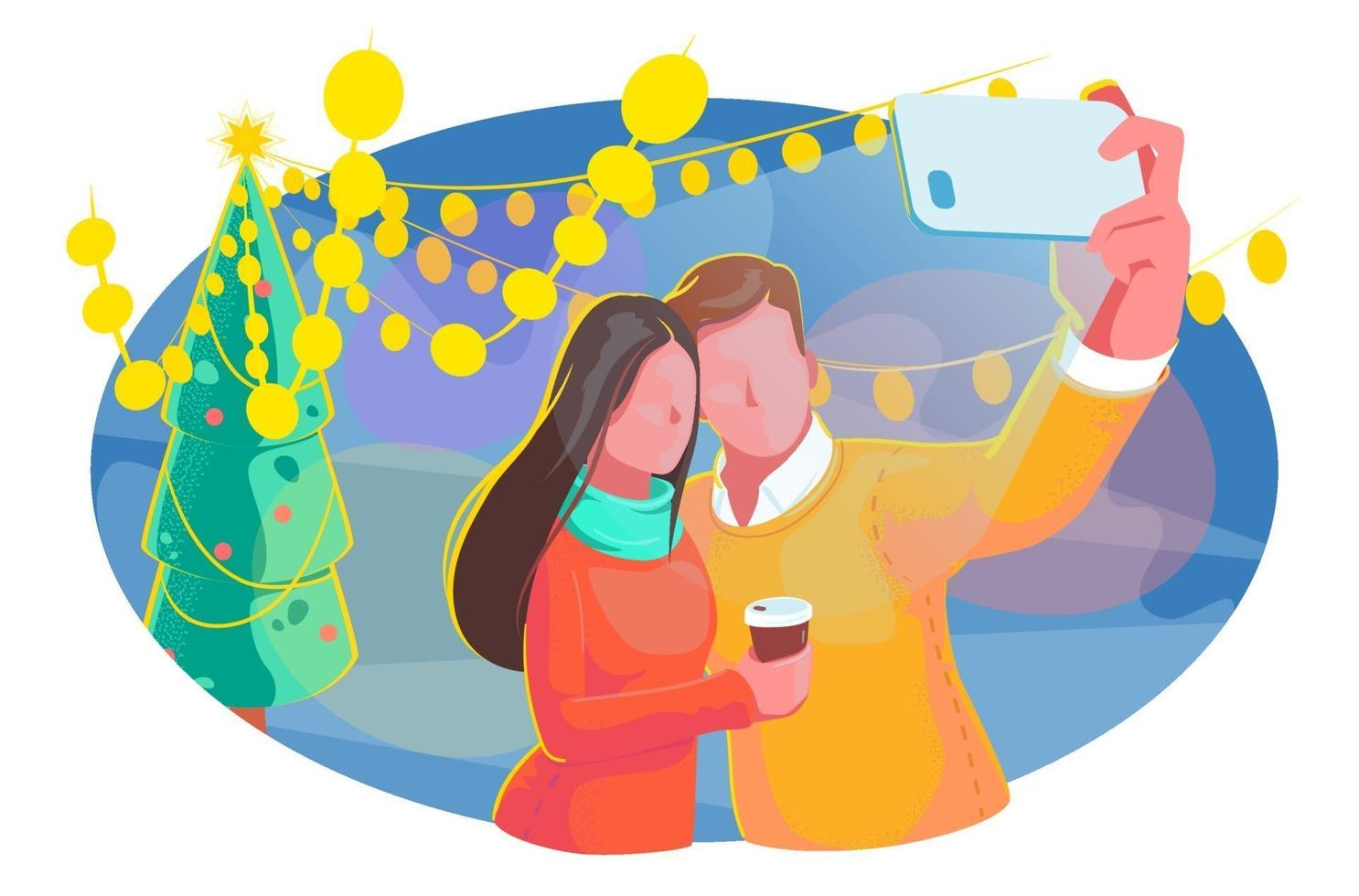 coppia invernale prendendo selfie blogging con illustrazione albero di Natale. festa di concetto di design, celebrazione del nuovo anno. concetto di natale della città all'aperto. sfondo vettoriale vacanza romantica isolato su bianco