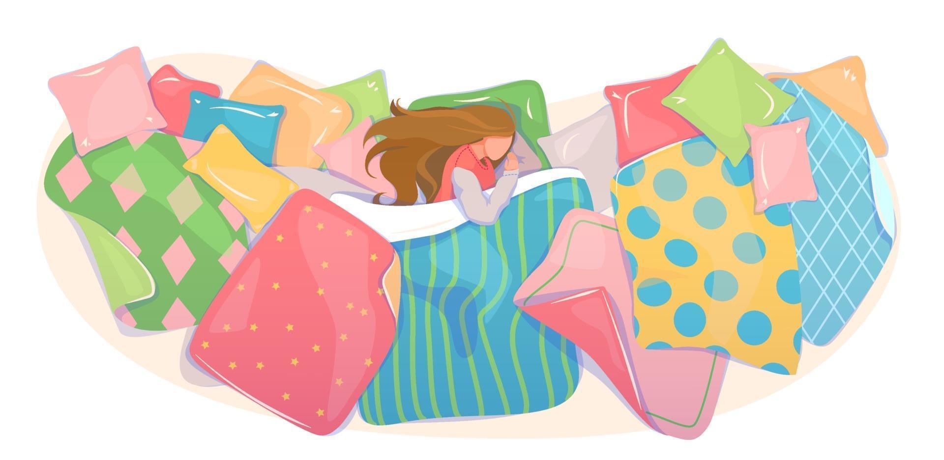 cuscini e coperte coprono design, banner negozio di tessuti. ragazza che dorme nel concetto di biancheria da letto accogliente. modello di set di biancheria da letto. sfondo web del modello di tessuto. carta dei sogni, vista dall'alto. illustrazione vettoriale piatta.