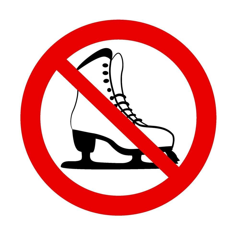 nessuna icona isolata vietata pattinaggio su ghiaccio. icona di simbolo di arresto rosso. segno di attenzione. zona proibita. avviso di pericolo non sicuro per il ghiaccio. disegno di sicurezza invernale su bacground bianco. vettore