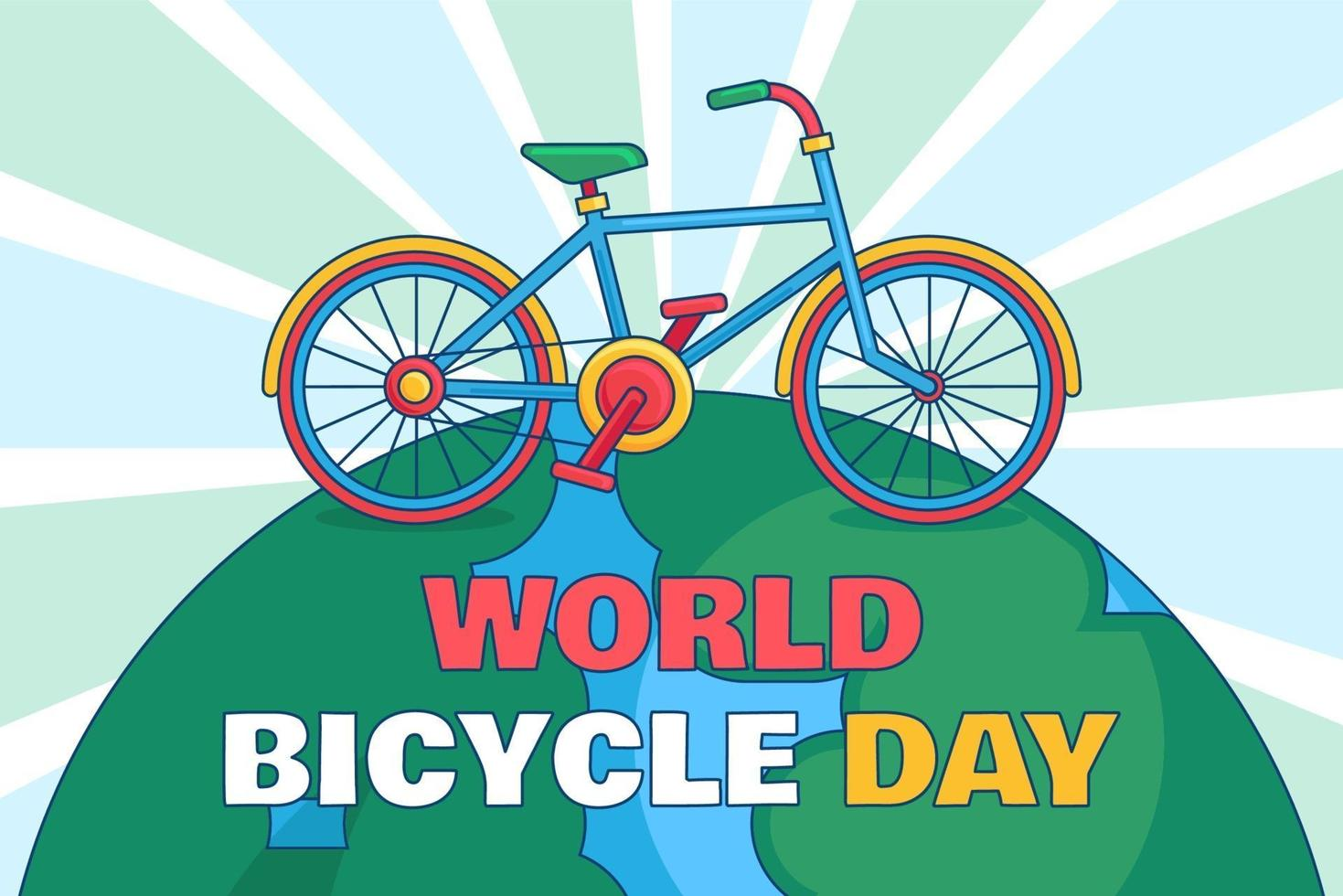 illustrazione della giornata mondiale della bicicletta vettore