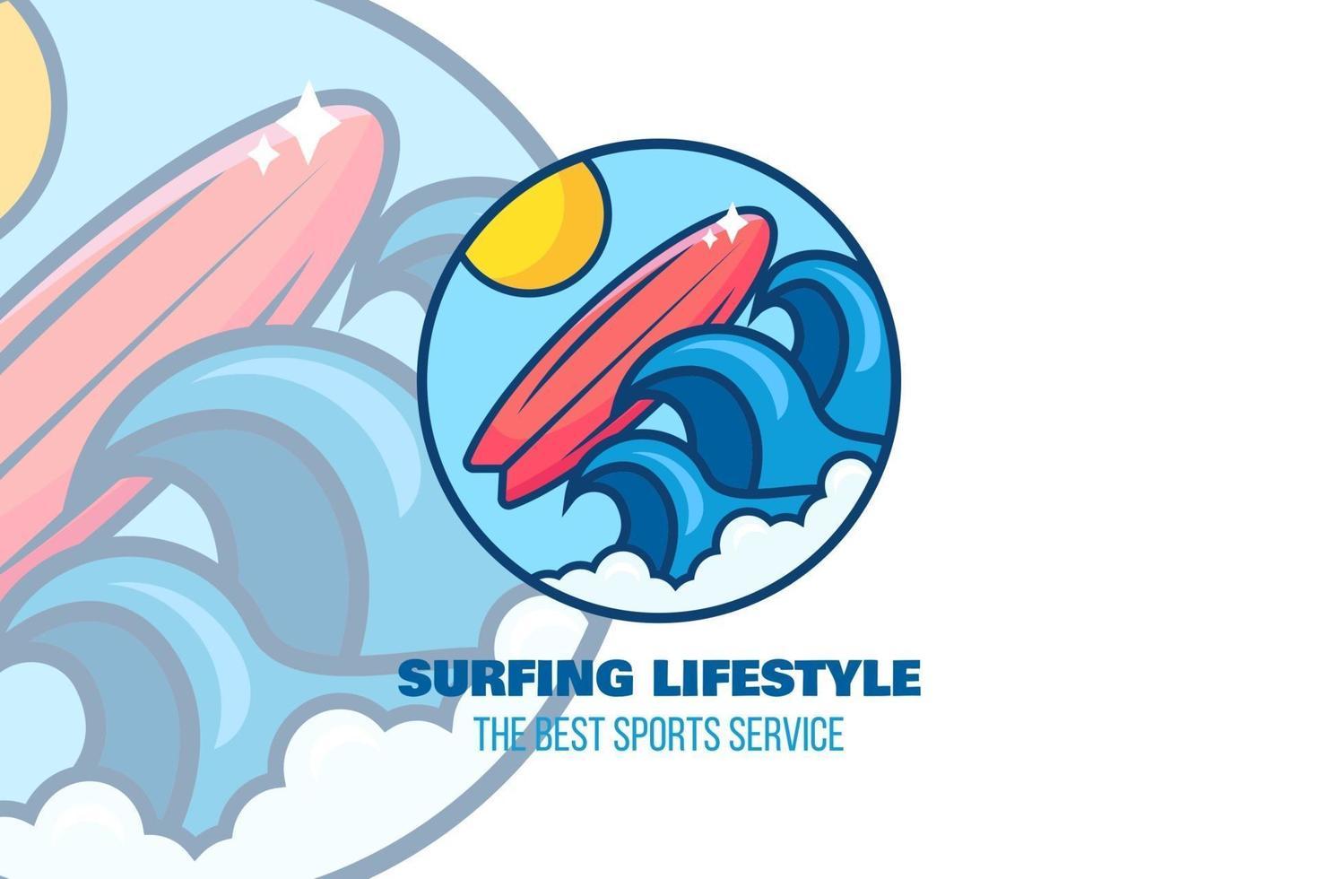logo di surf. surf camp, modello emblema della stazione vettore