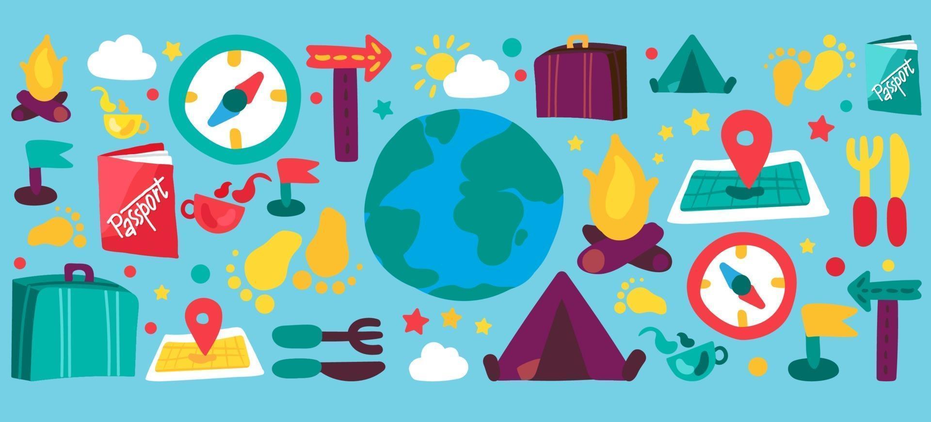 set di illustrazioni dei cartoni animati di turismo e viaggi vettore