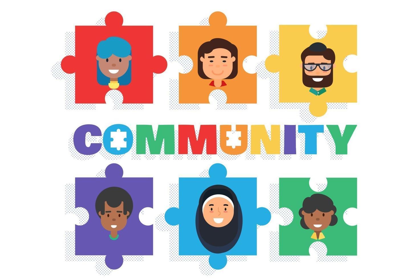 persone di razza mista uomini e donne comunità diverse vettore