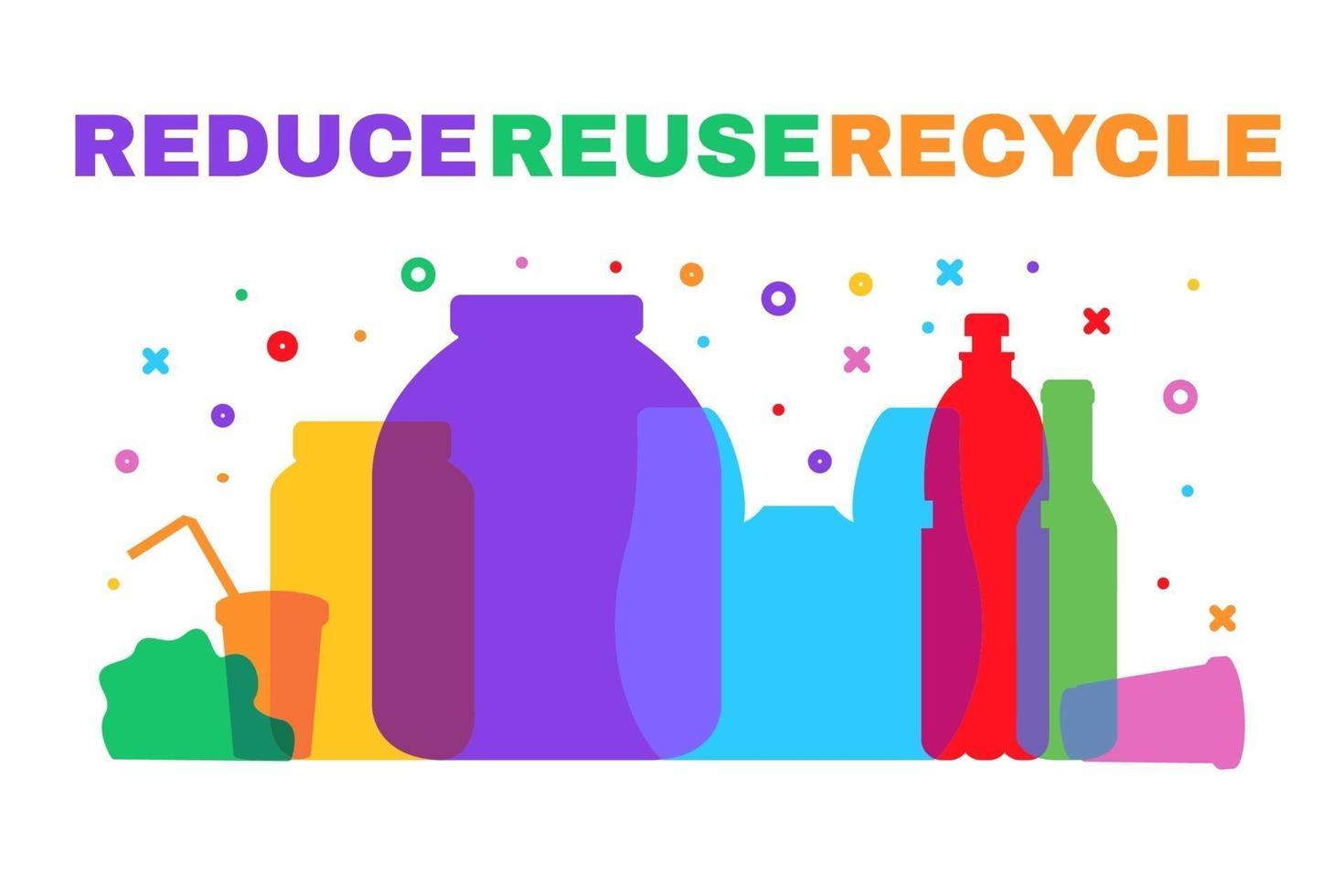 ridurre i rifiuti di plastica e ordinare i poster della spazzatura vettore