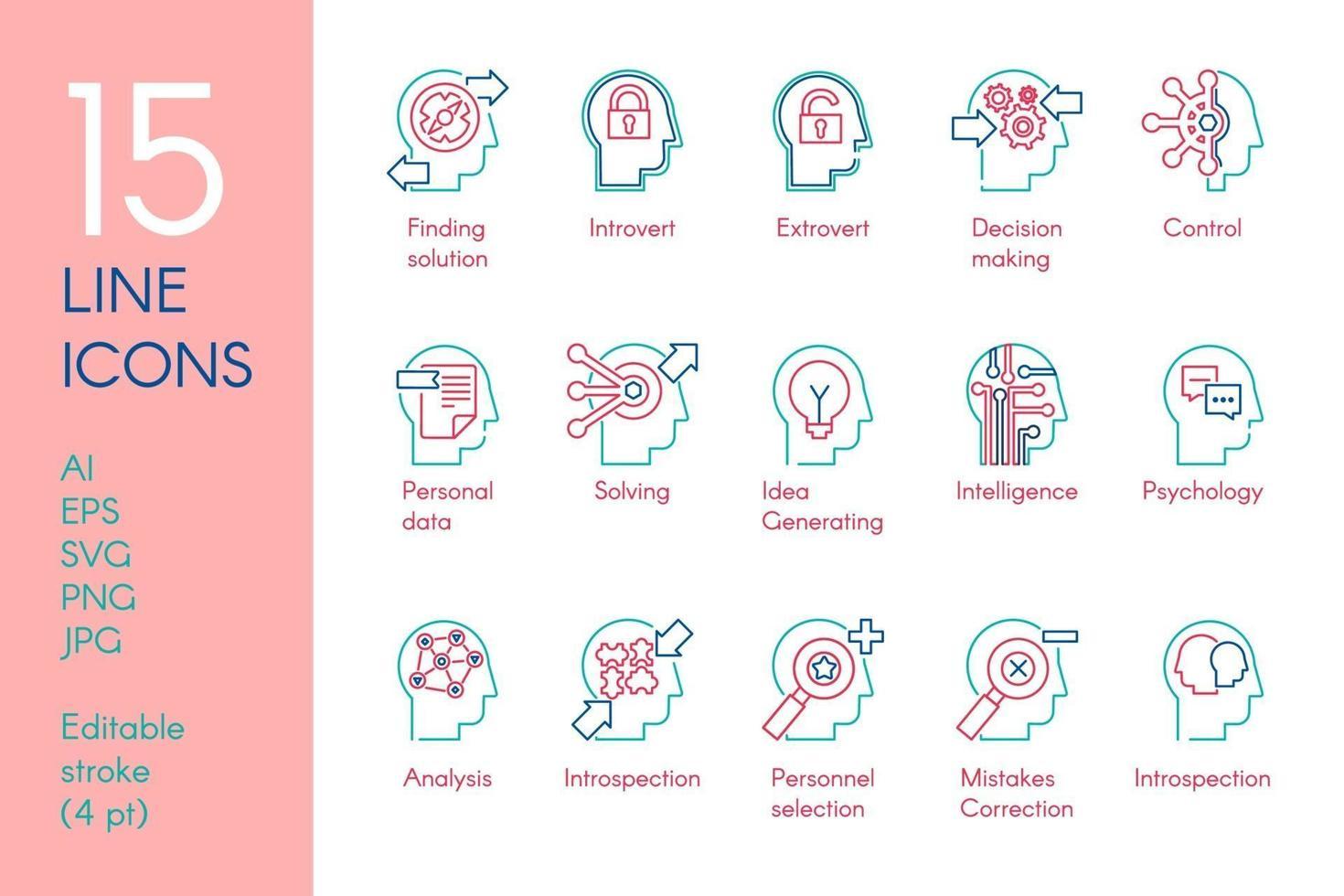 set di icone lineari di colore di attività mentale vettore