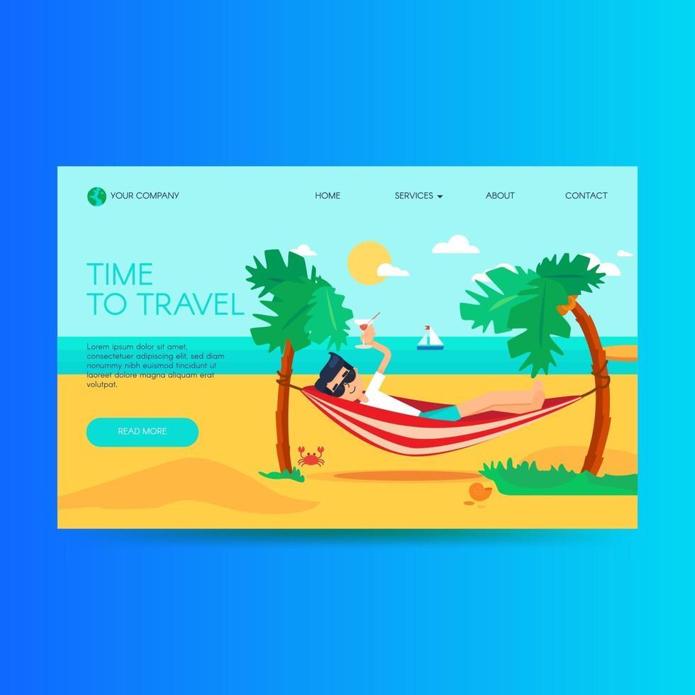 modello di homepage del sito web di un'agenzia di viaggi vettore
