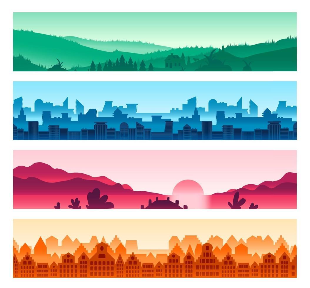set di sagome di paesaggi urbani e di campagna vettore