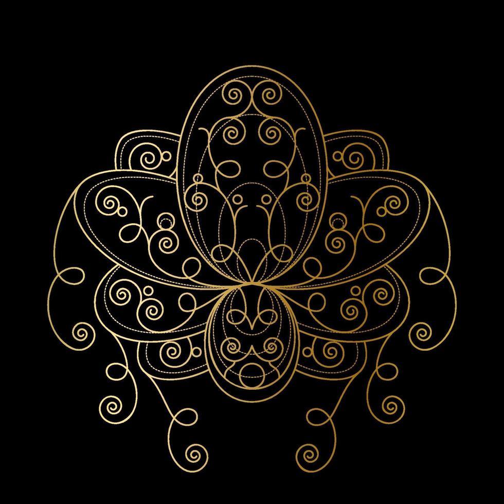 fiore di loto con illustrazione lineare ornamento geometrico astratto dorato vettore