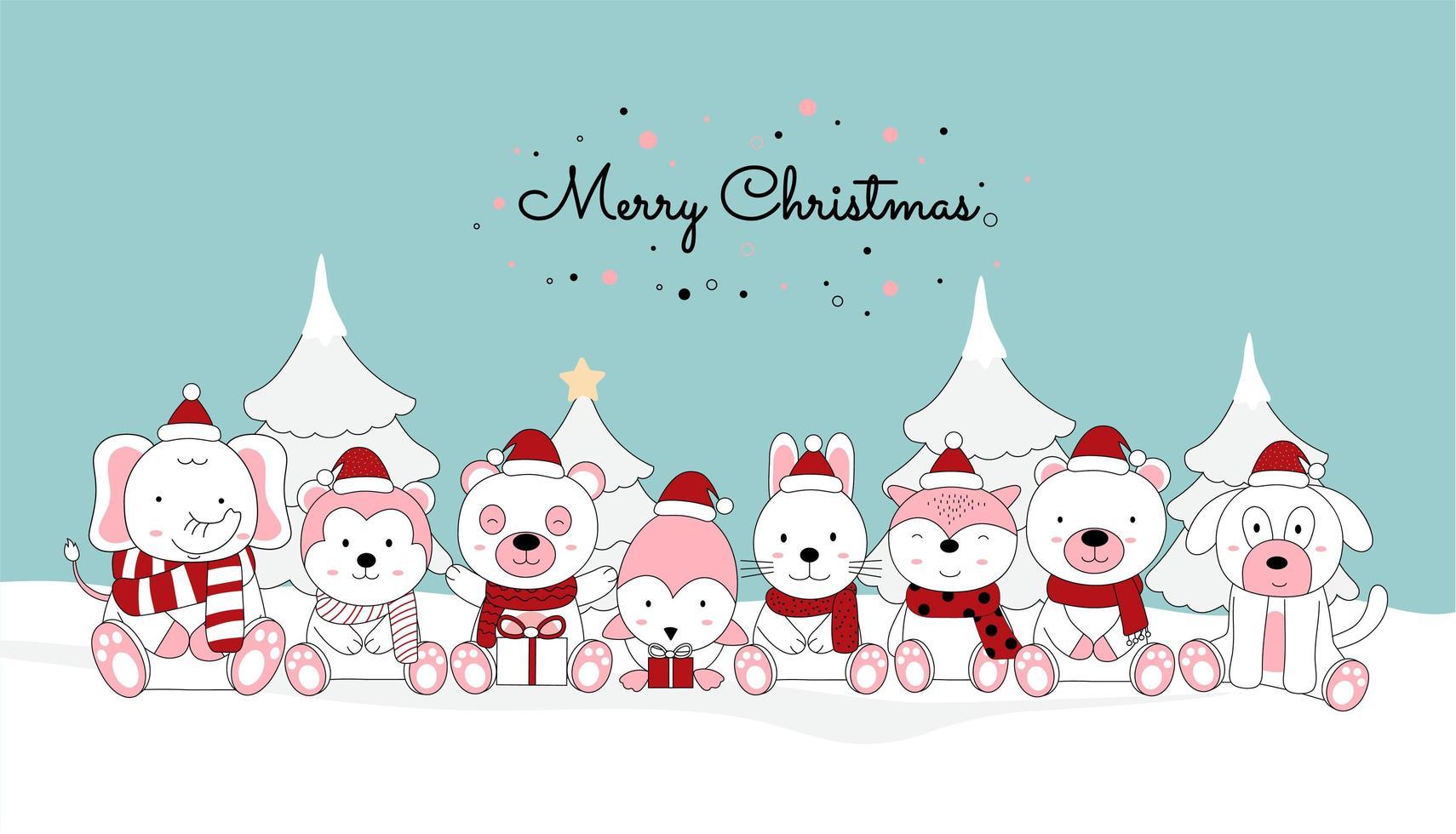 biglietto di auguri di Natale con simpatici animaletti vettore
