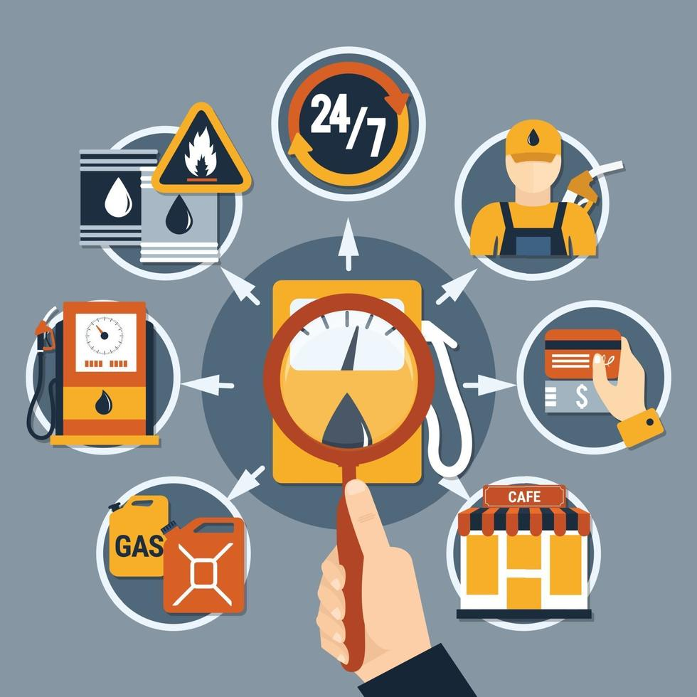 illustrazione di vettore di concetto piatto pompa carburante