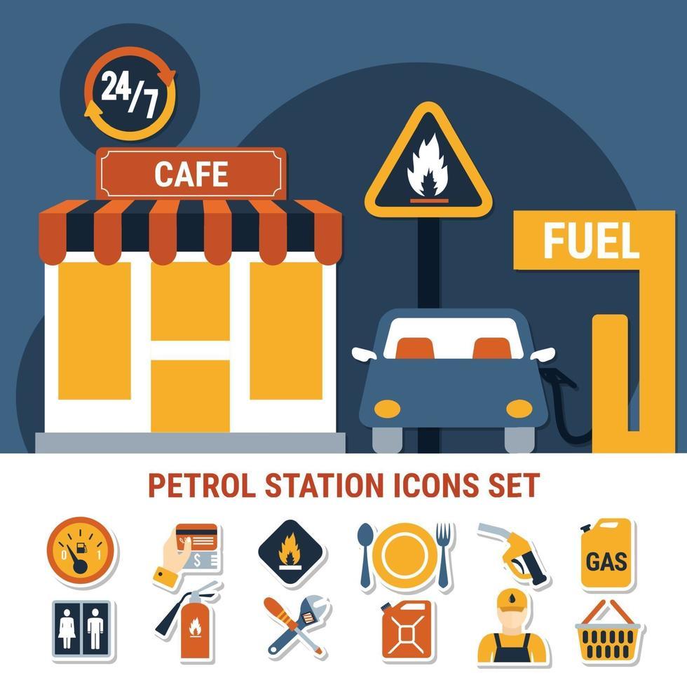 icona della pompa del carburante imposta illustrazione vettoriale
