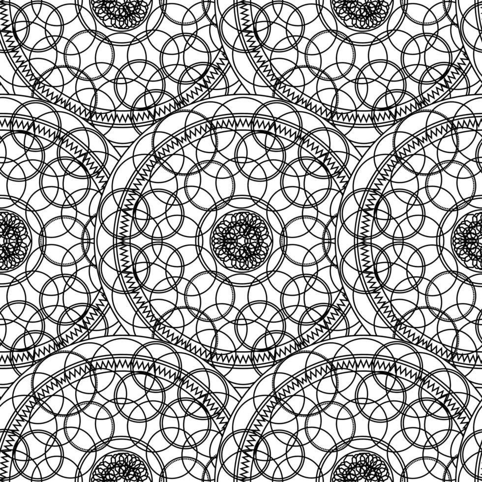 nero bianco monocromatico mandala boho seamless pattern vettore