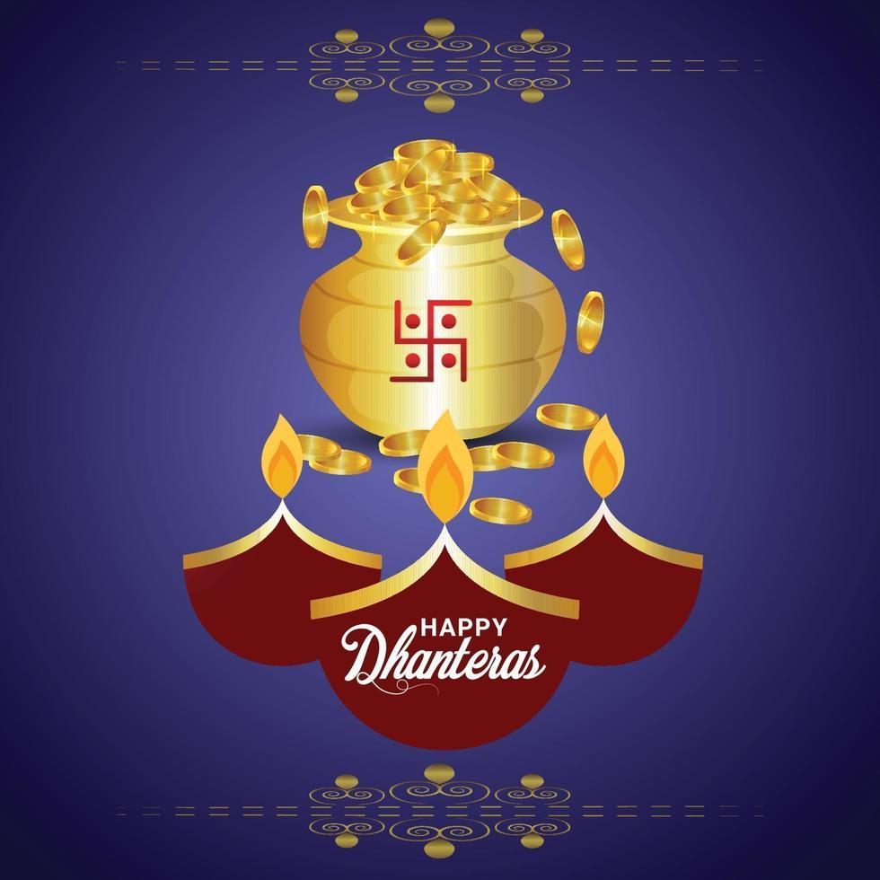 biglietto di auguri festival indiano con pentola moneta d'oro vettore
