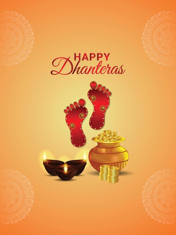 poster di celebrazione di shubh dhanteras con vaso di monete d'oro creativo e impronta della dea laxami vettore