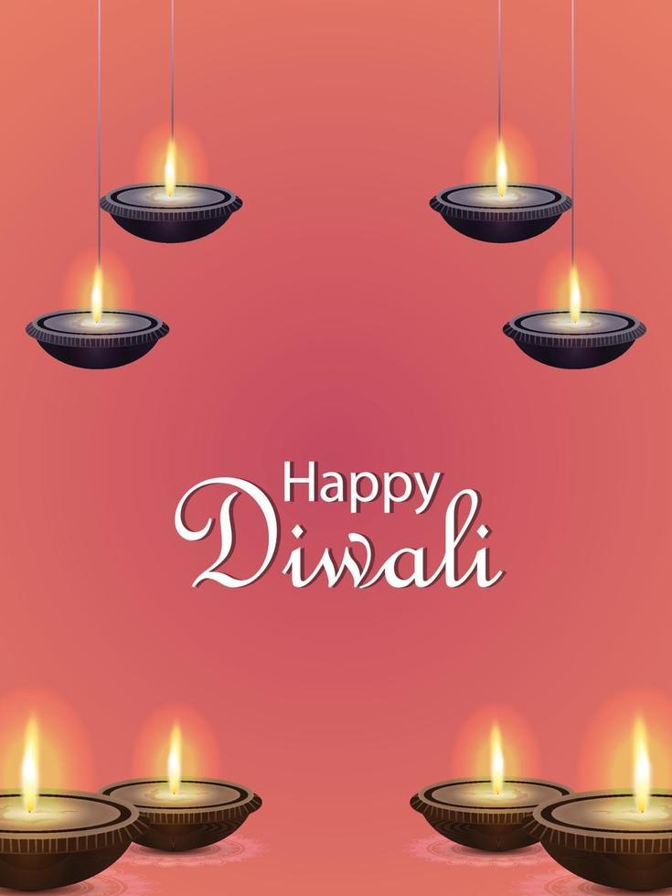 felice celebrazione poster di diwali con illustrazione vettoriale di diwali diya