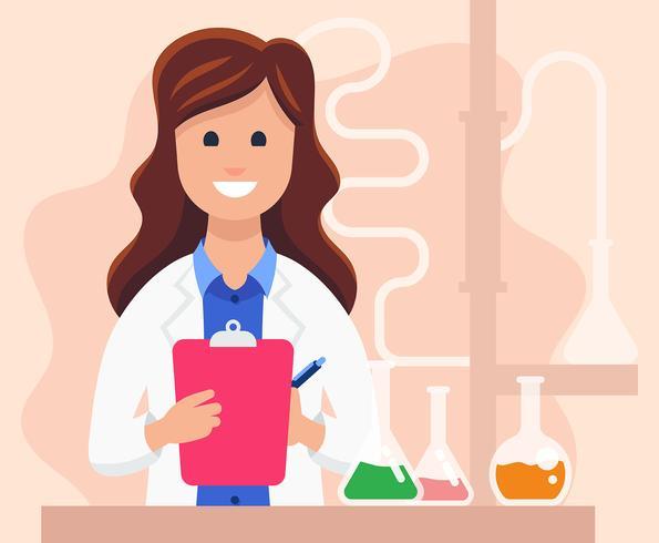 Illustrazione di scienziato femminile vettore