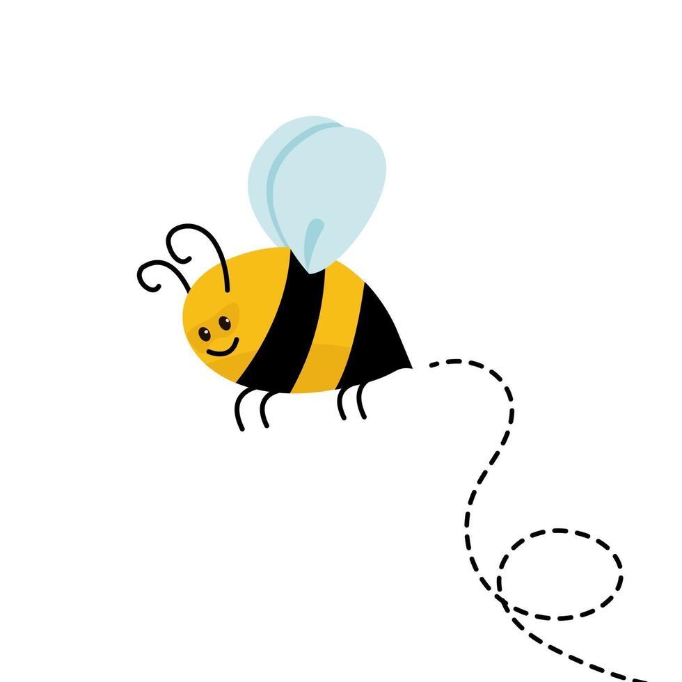 piccola ape carina con stile cartone animato. illustrazione vettoriale