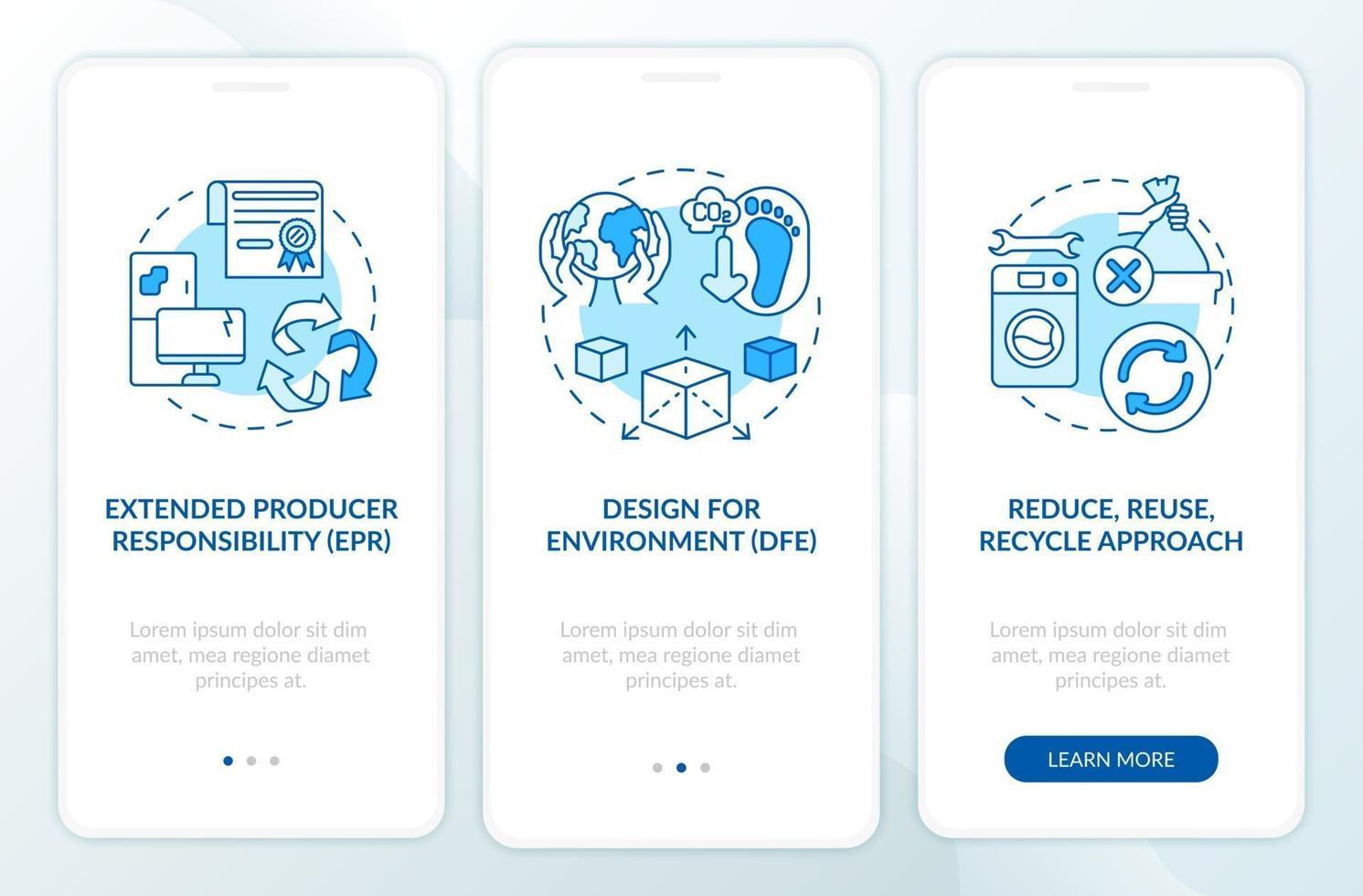 iniziative di riduzione dei rifiuti elettronici onboarding schermata della pagina dell'app mobile con concetti vettore