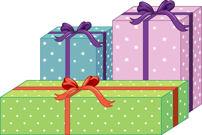 set di diverse confezioni regalo isolati su sfondo bianco vettore