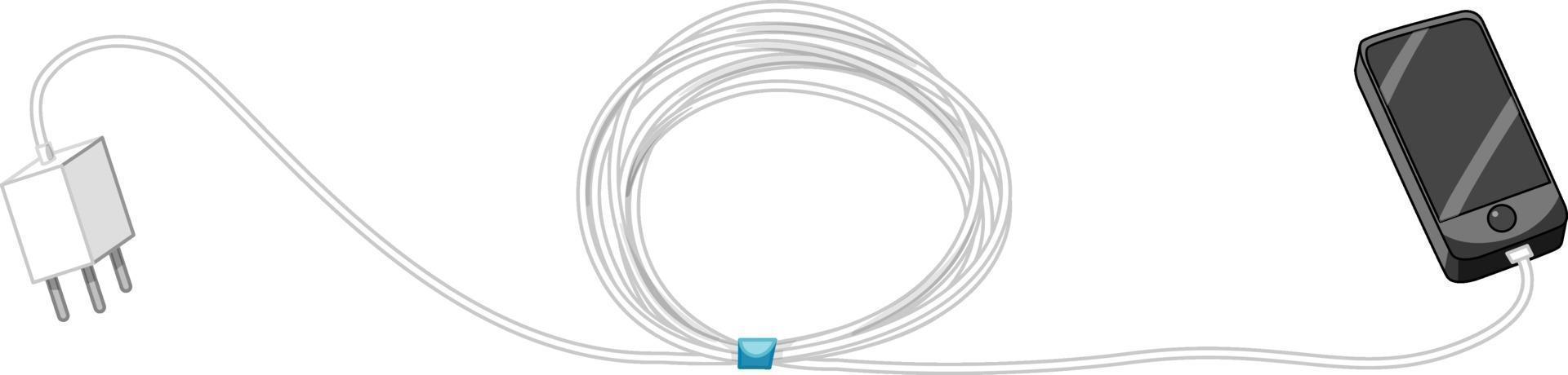 smartphone con adattatore di ricarica e cavo su sfondo bianco vettore