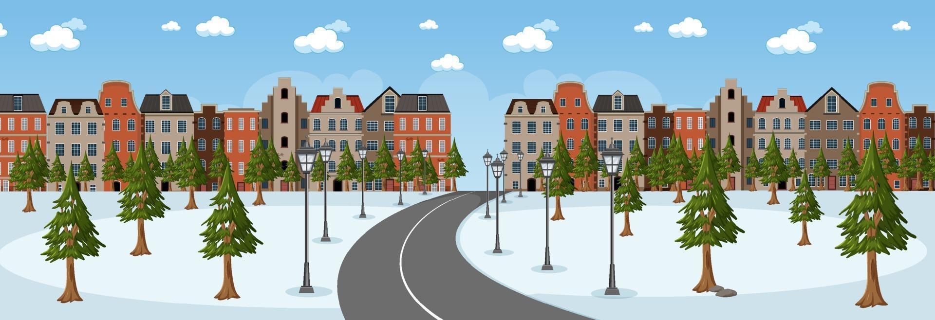 scena orizzontale durante il giorno con una lunga strada attraverso lo snow park in città vettore