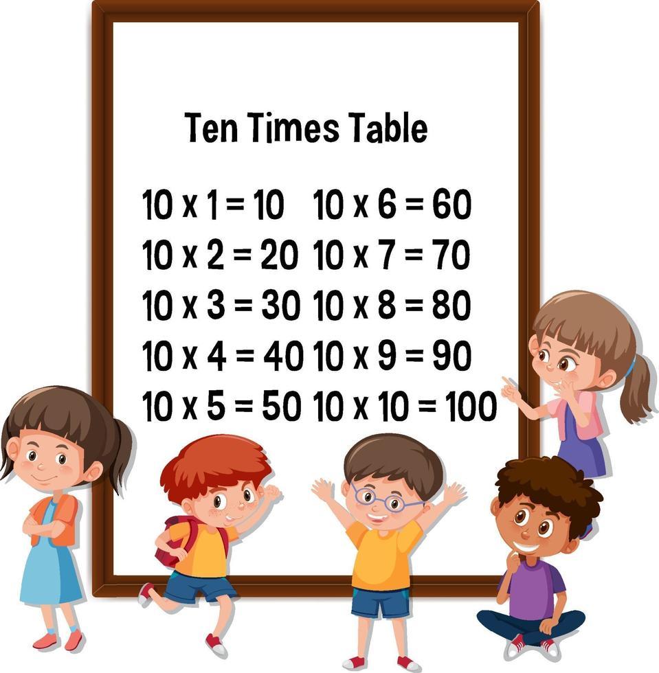 tabellina del dieci con molti personaggi dei cartoni animati per bambini vettore