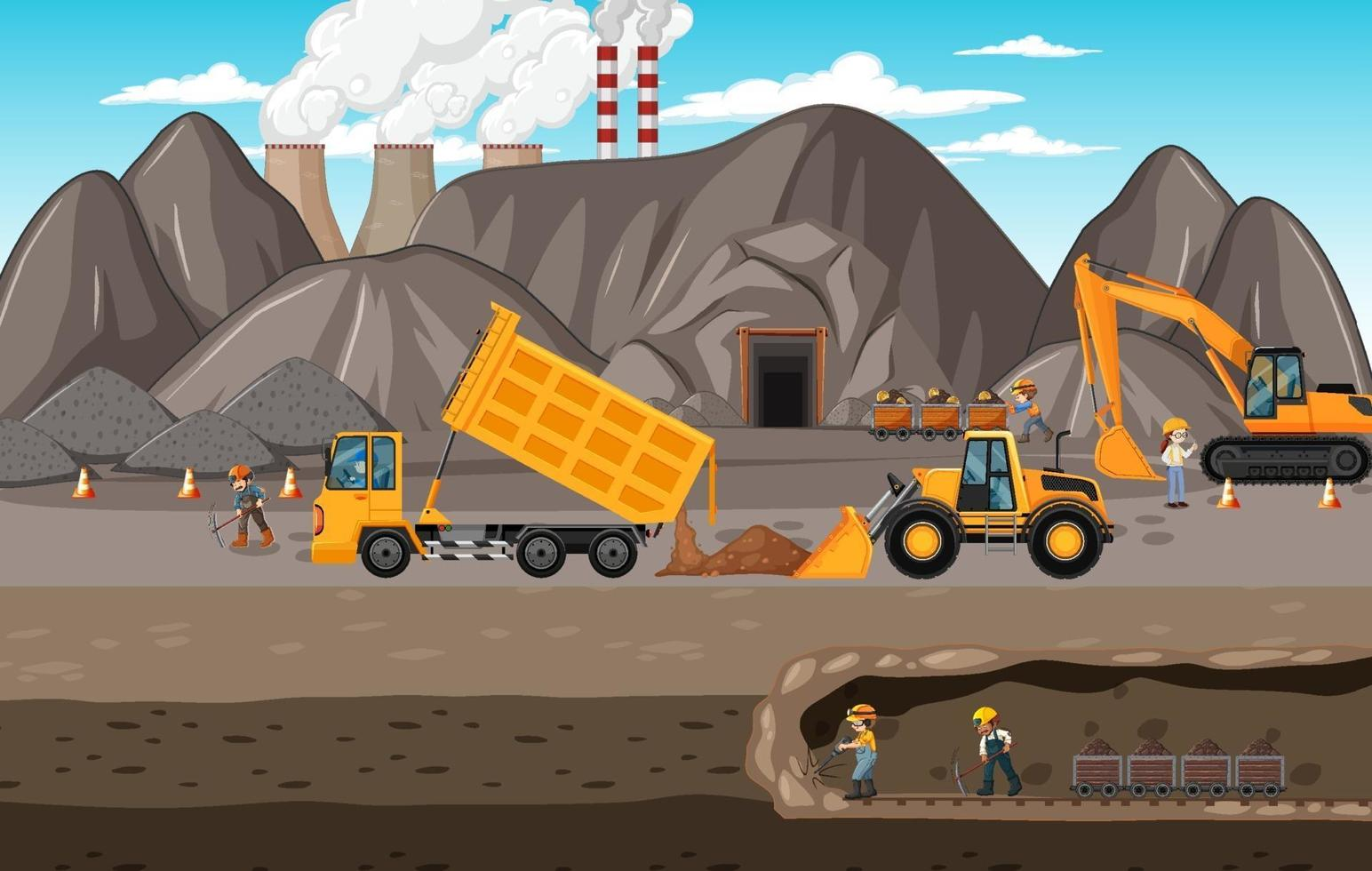 paesaggio delle miniere di carbone con scena sotterranea vettore