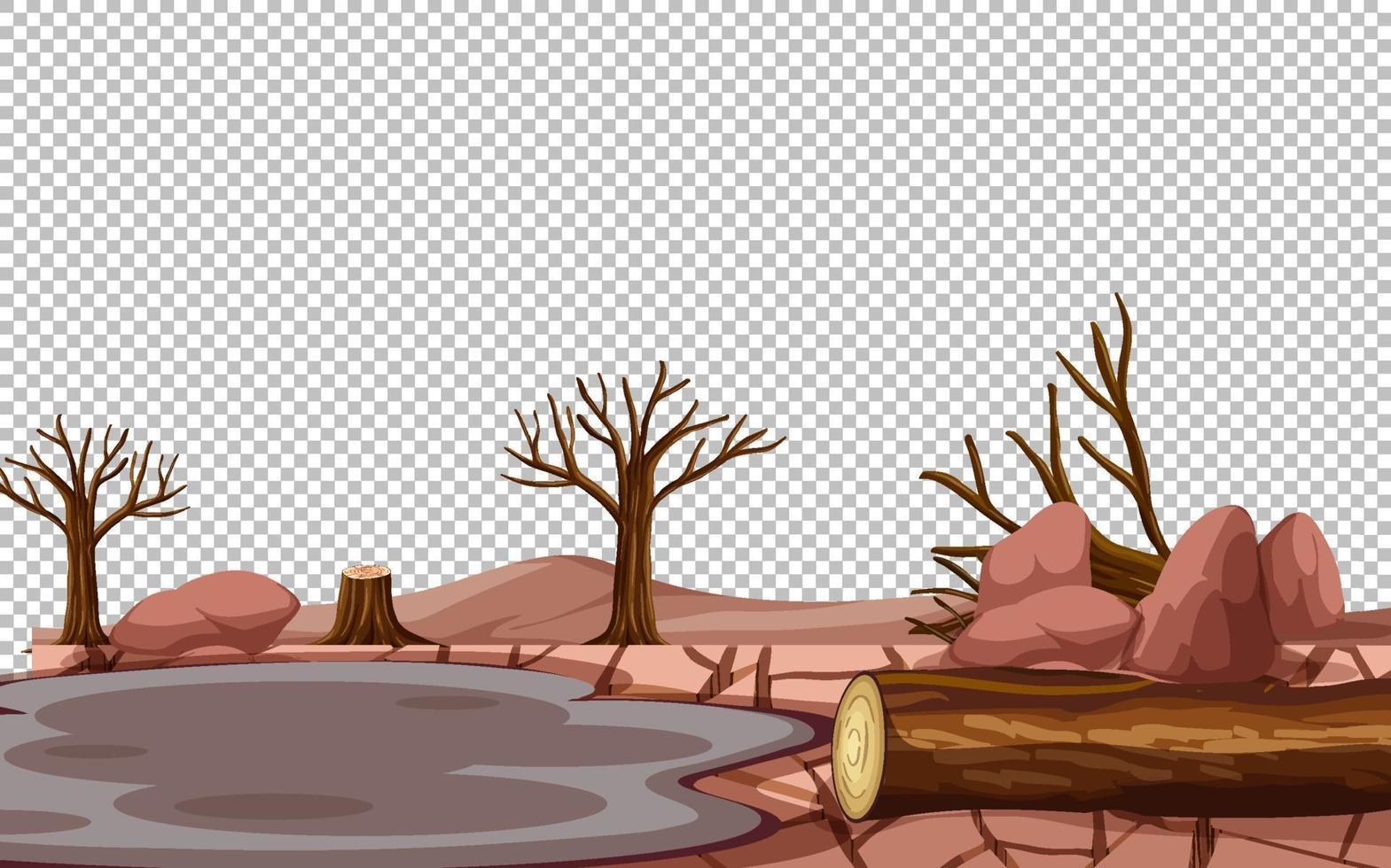 paesaggio secco terra incrinata su sfondo trasparente vettore