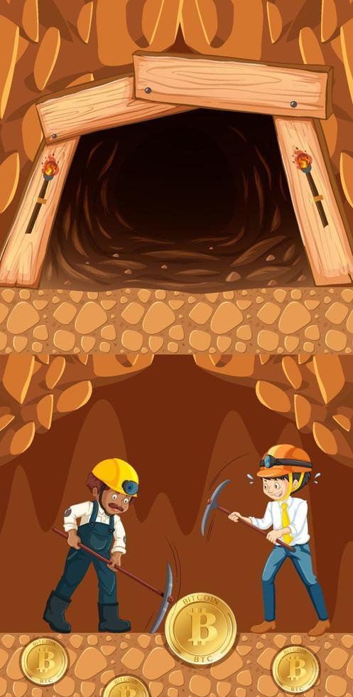 mining di bitcoin con due minatori nel sottosuolo vettore