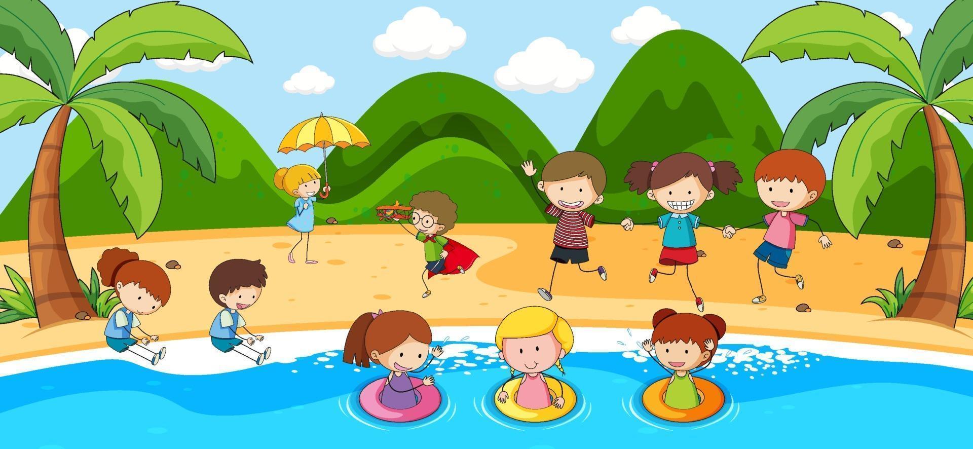 scena all'aperto con molti bambini che giocano in spiaggia vettore