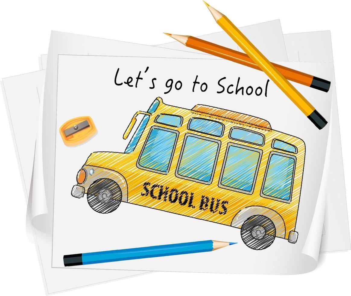 schizzo scuolabus su carta isolato vettore