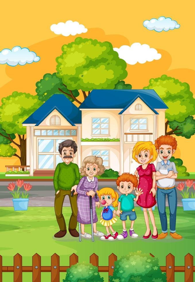 famiglia felice in piedi fuori casa vettore