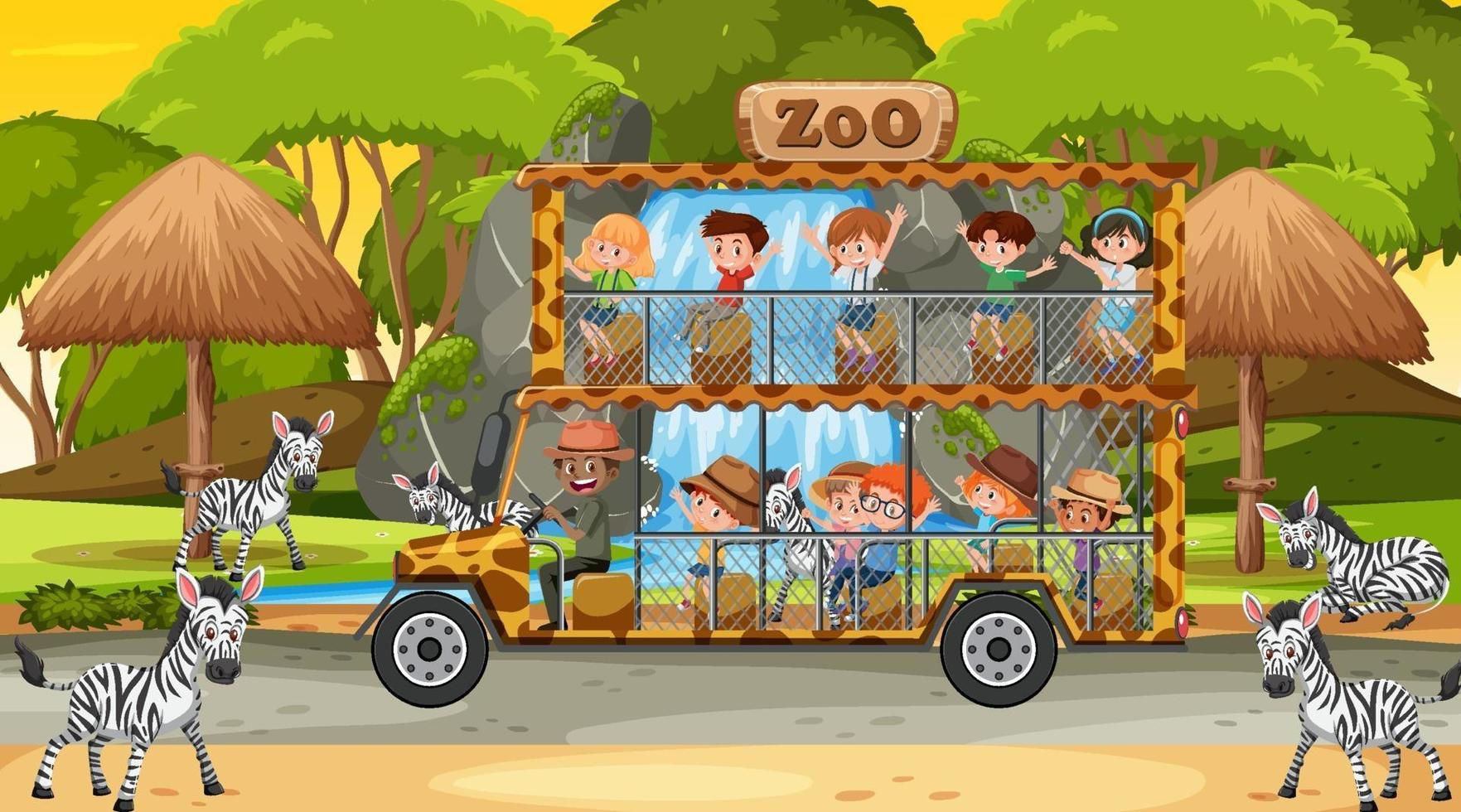 safari alla scena del tramonto con bambini che guardano il gruppo di zebre vettore