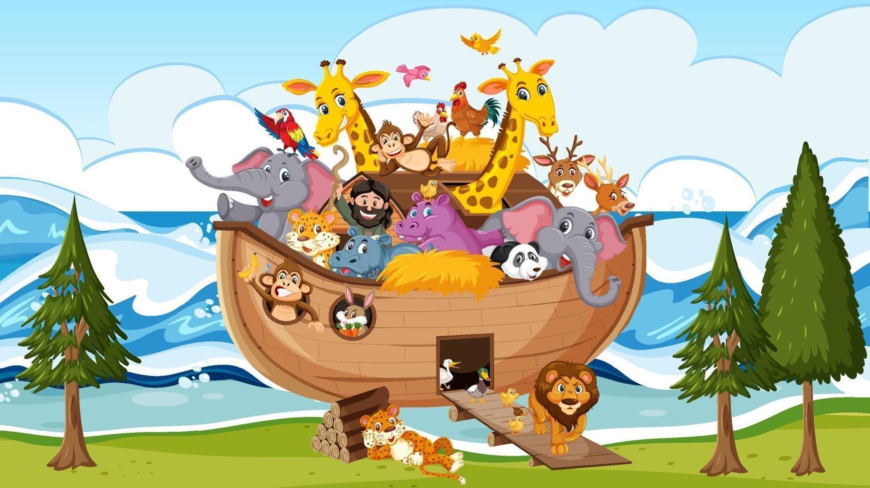 animali sull'arca di noè che galleggiano nella scena dell'oceano vettore