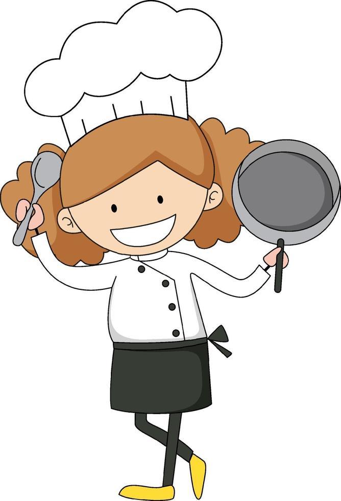 personaggio dei cartoni animati di chef femminile personaggio dei cartoni animati vettore