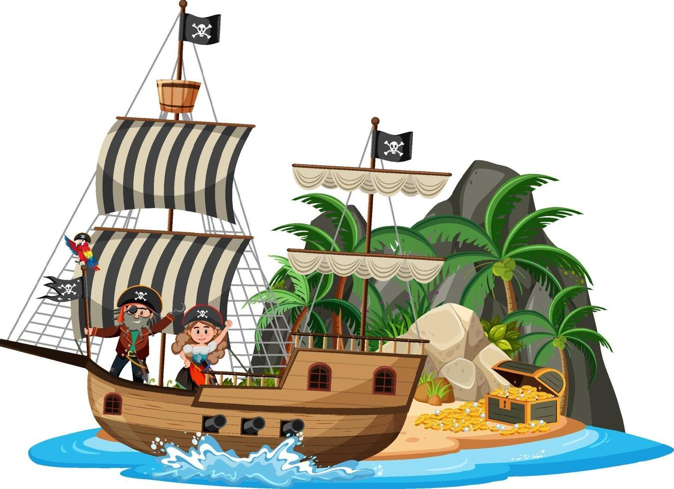 nave pirata sull'isola con molti bambini isolati su sfondo bianco vettore