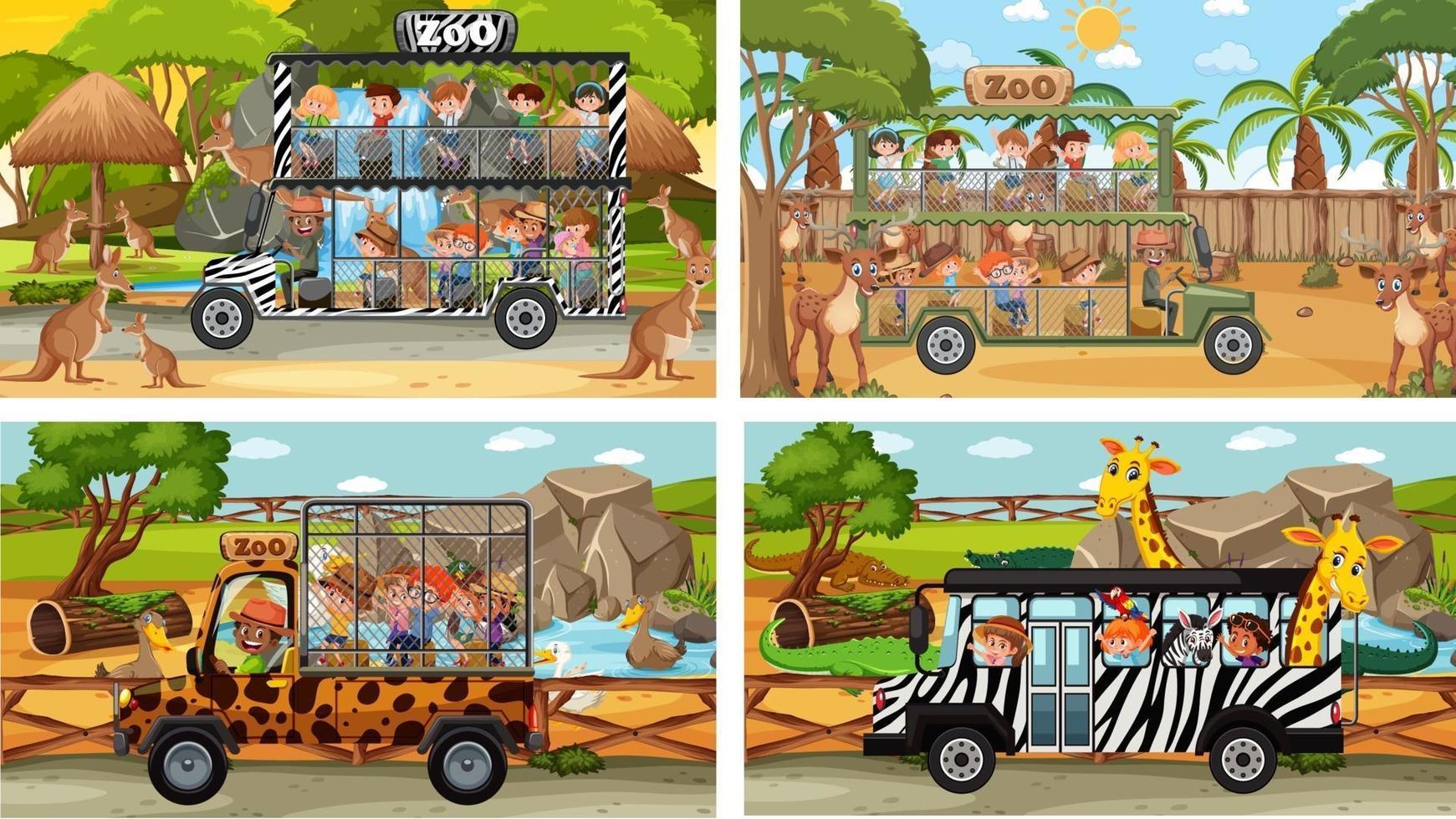 set di diverse scene di safari con animali e personaggi dei cartoni animati per bambini vettore