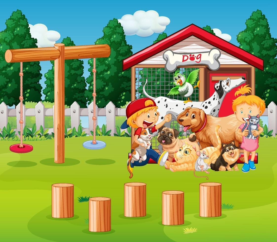 gruppo di animali domestici con il proprietario nella scena del parco giochi vettore