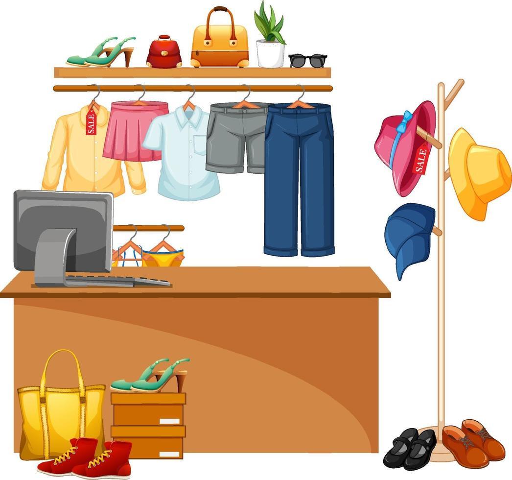 contatore cassiere del negozio di vestiti isolato vettore