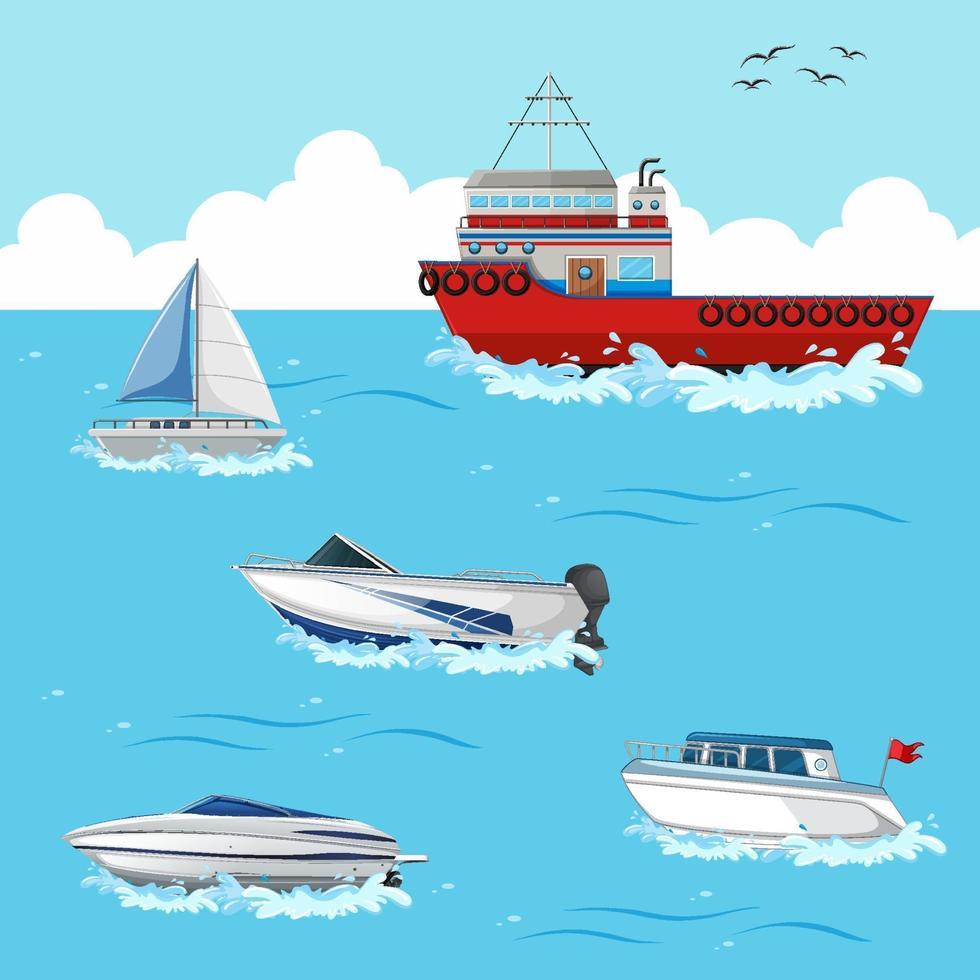 molte navi diverse sulla scena dell'oceano vettore