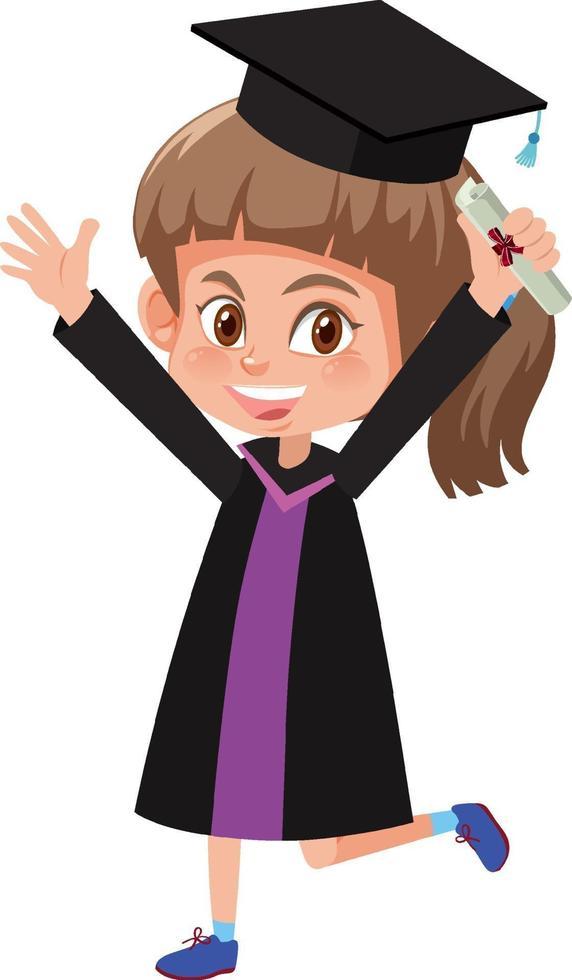 personaggio dei cartoni animati di una ragazza che indossa il costume di laurea vettore