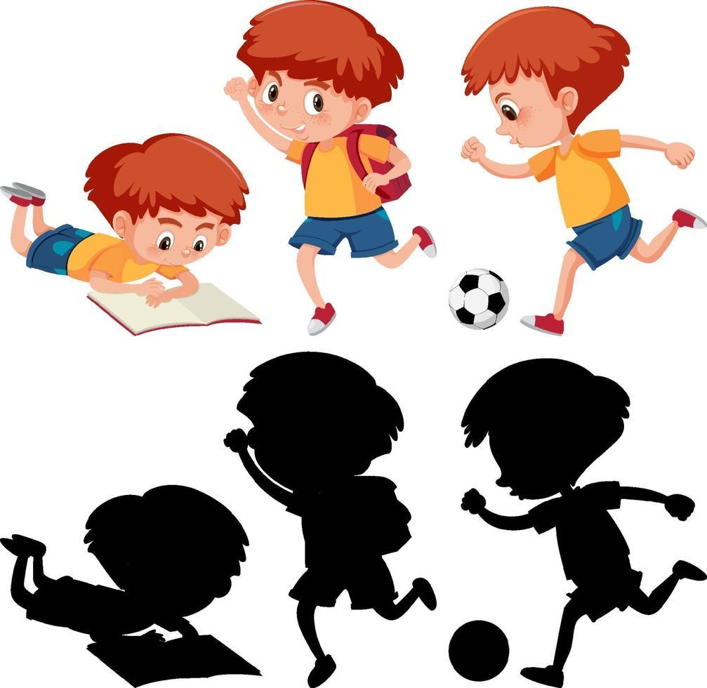 set di un personaggio dei cartoni animati ragazzo in diverse posizioni con la sua silhouette vettore
