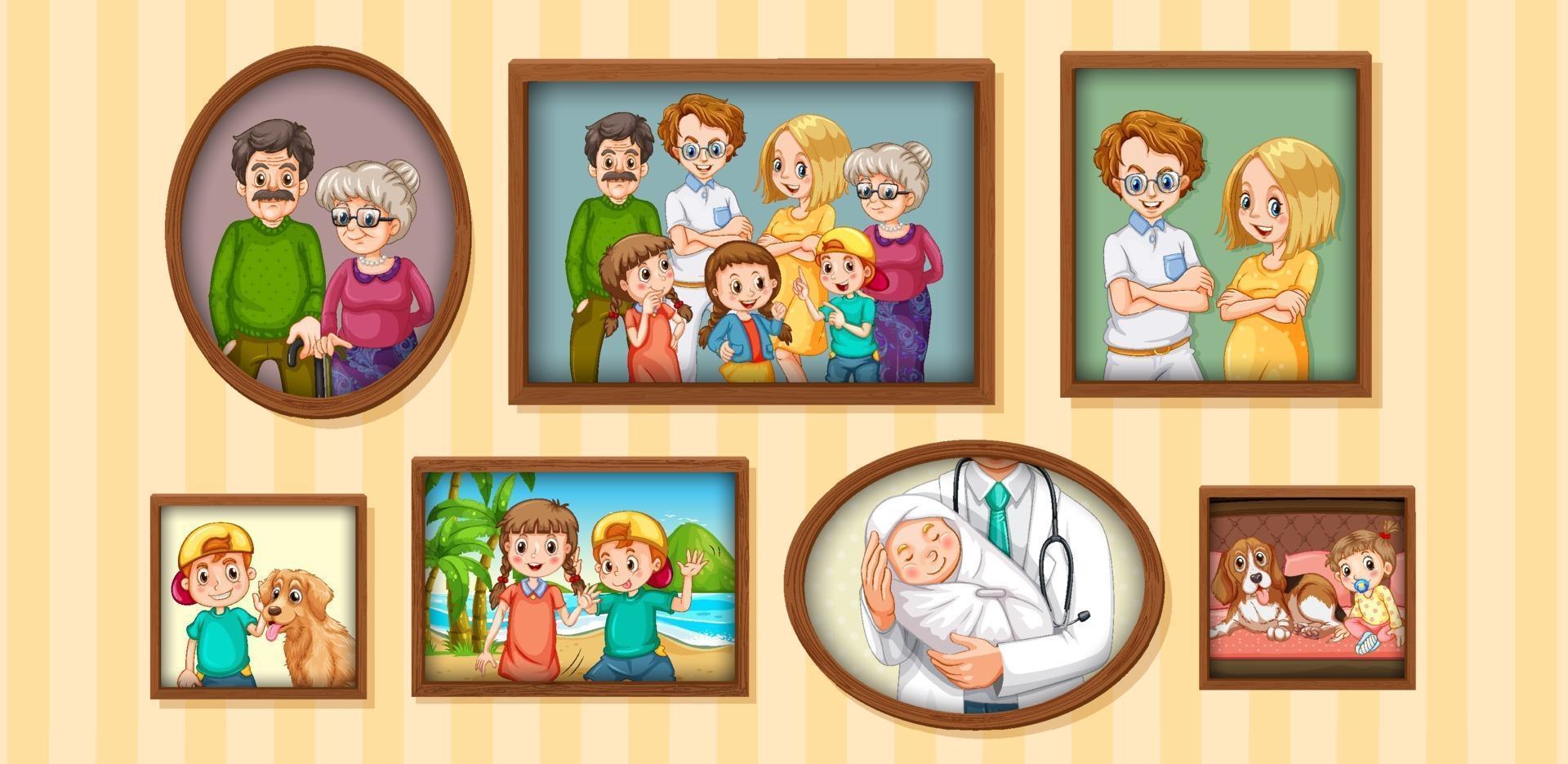 set di foto di famiglia felice sul telaio in legno vettore