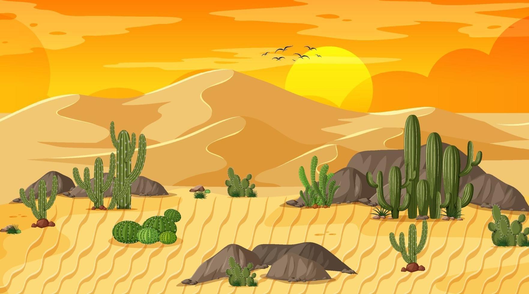 paesaggio della foresta del deserto alla scena del tramonto con oasi vettore