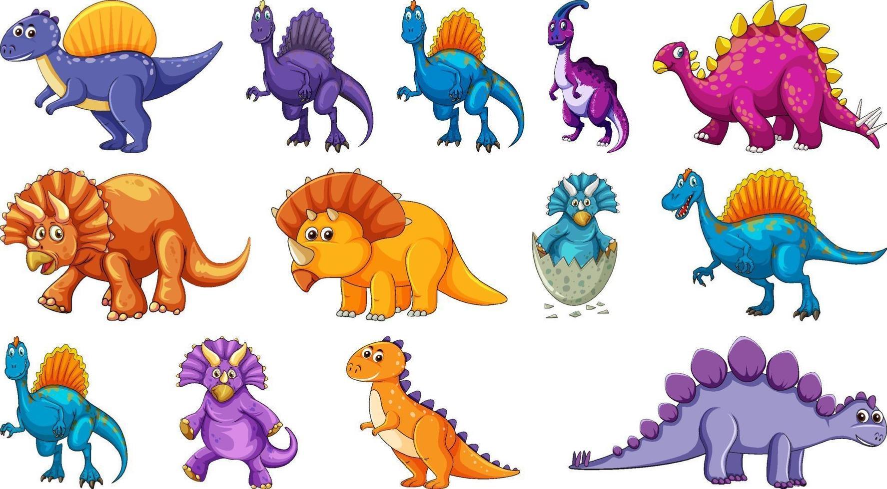 diversi personaggi dei cartoni animati di dinosauri e draghi fantasy isolati vettore