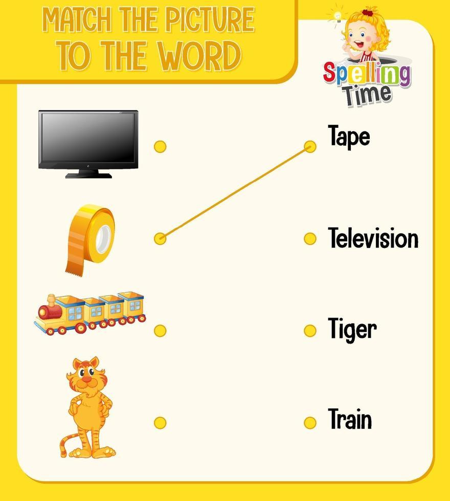 abbina l'immagine al foglio di lavoro delle parole per i bambini vettore