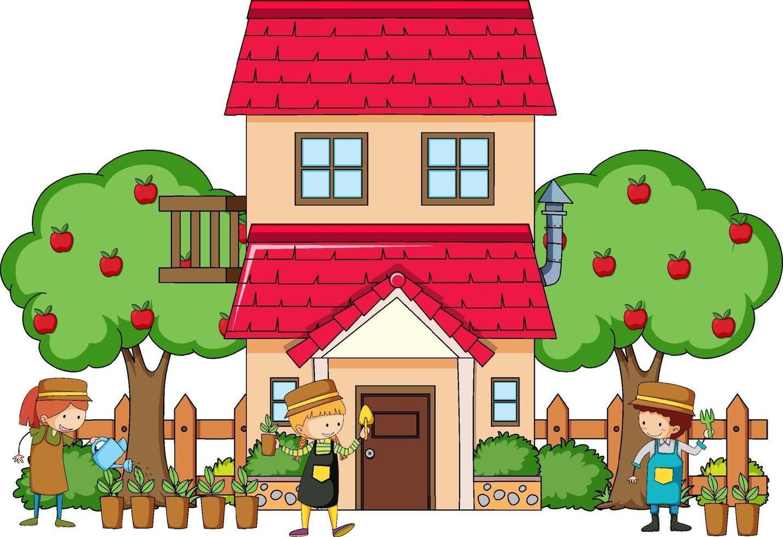 vista frontale di una casa con molti bambini su sfondo bianco vettore