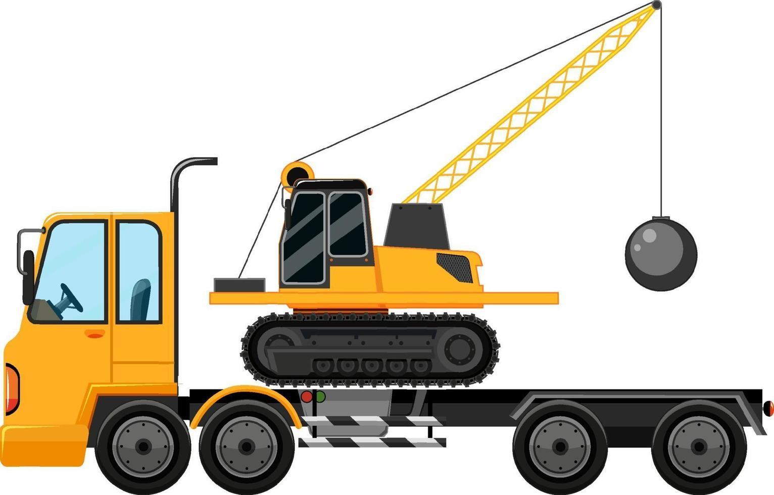 carro attrezzi che trasportano bulldozer sfondo isolato vettore