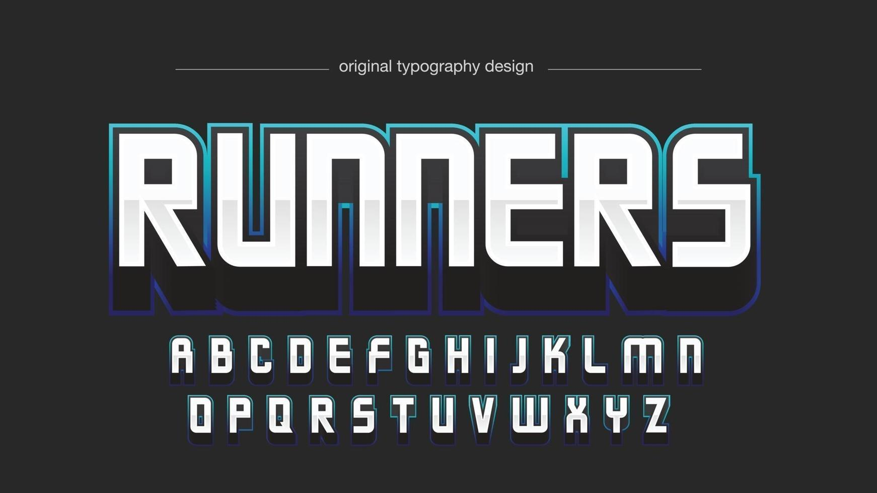 tipografia di gioco moderna al neon blu vettore