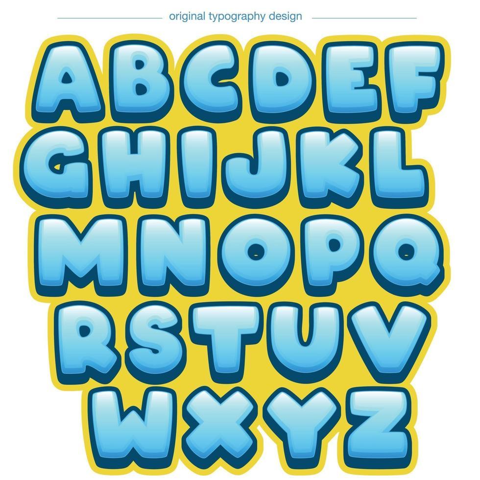 tipografia del fumetto arrotondato blu e giallo vettore